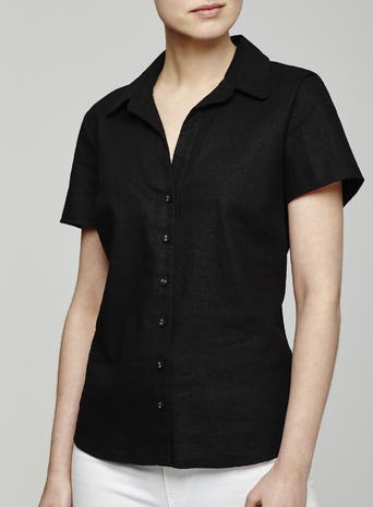 Womens Short Sleeved Linen Shirt, Black, Black - neckline: shirt collar/peter pan/zip with opening; pattern: plain; style: shirt; predominant colour: black; occasions: casual; length: standard; fibres: linen - 100%; fit: body skimming; sleeve length: short sleeve; sleeve style: standard; texture group: linen; pattern type: fabric; season: s/s 2016