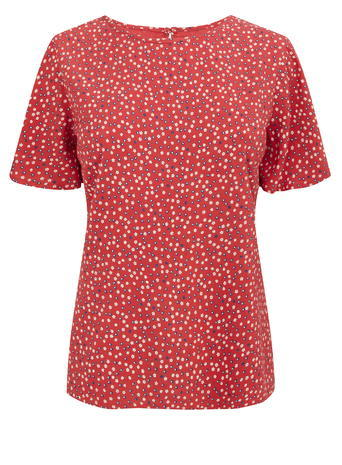 Womens Soft Ditsy Print Tee, Red, Red - pattern: polka dot; secondary colour: white; predominant colour: true red; occasions: casual; length: standard; style: top; fibres: viscose/rayon - 100%; fit: body skimming; neckline: crew; sleeve length: short sleeve; sleeve style: standard; pattern type: fabric; texture group: woven light midweight; multicoloured: multicoloured; season: s/s 2016; wardrobe: highlight
