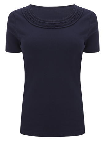Womens Ruffle Neck Trim Top, Navy, Navy - neckline: round neck; pattern: plain; predominant colour: navy; occasions: casual; length: standard; style: top; fibres: cotton - 100%; fit: body skimming; sleeve length: short sleeve; sleeve style: standard; pattern type: fabric; texture group: jersey - stretchy/drapey; season: s/s 2016; wardrobe: basic