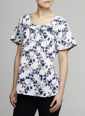 Womens Floral Printed Blouse, Ivory, Ivory Print - neckline: shirt collar/peter pan/zip with opening; style: blouse; predominant colour: ivory/cream; secondary colour: navy; occasions: casual; length: standard; fibres: cotton - 100%; fit: body skimming; sleeve length: short sleeve; sleeve style: standard; texture group: cotton feel fabrics; pattern type: fabric; pattern size: light/subtle; pattern: florals; multicoloured: multicoloured; season: s/s 2016; wardrobe: highlight