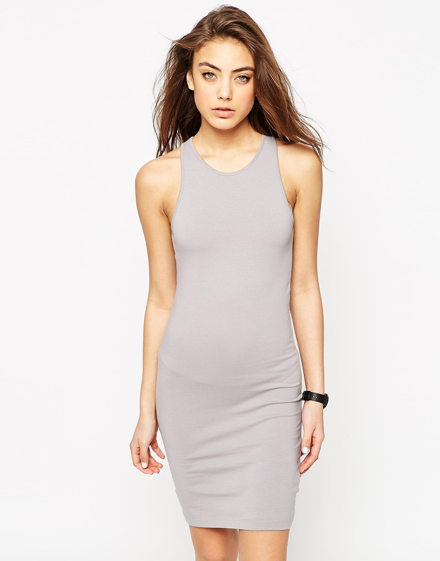 Racer Bodycon Mini Dress Dove Grey - fit: tight; pattern: plain; sleeve style: sleeveless; style: bodycon; predominant colour: light grey; occasions: casual; length: just above the knee; fibres: cotton - stretch; neckline: crew; sleeve length: sleeveless; texture group: jersey - clingy; pattern type: fabric; season: s/s 2016; wardrobe: basic