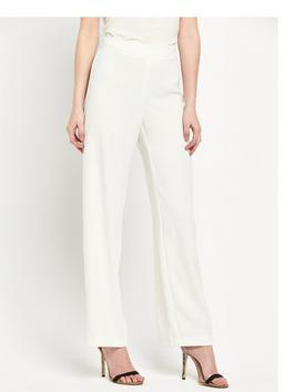 Wide Leg Trousers - length: standard; pattern: plain; waist: high rise; predominant colour: ivory/cream; occasions: evening, occasion; fibres: polyester/polyamide - 100%; waist detail: feature waist detail; texture group: cotton feel fabrics; fit: wide leg; pattern type: fabric; style: standard; season: s/s 2016; wardrobe: event