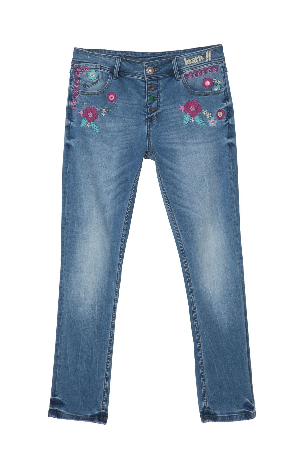 Ethnic Denim, Blue - length: standard; waist: low rise; pocket detail: traditional 5 pocket; style: slim leg; secondary colour: pink; predominant colour: denim; occasions: casual; fibres: cotton - stretch; texture group: denim; pattern type: fabric; pattern: florals; embellishment: embroidered; pattern size: standard (bottom); season: s/s 2016; wardrobe: highlight