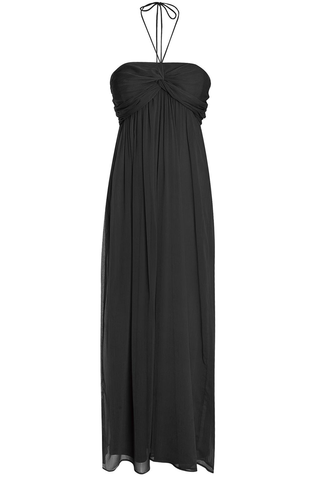 Ruched Halterneck Maxi Dress, Black - fit: empire; pattern: plain; sleeve style: sleeveless; style: maxi dress; length: ankle length; bust detail: subtle bust detail; predominant colour: black; fibres: cotton - stretch; occasions: occasion; hip detail: subtle/flattering hip detail; sleeve length: sleeveless; pattern type: fabric; texture group: jersey - stretchy/drapey; season: s/s 2016; neckline: high halter neck; wardrobe: event