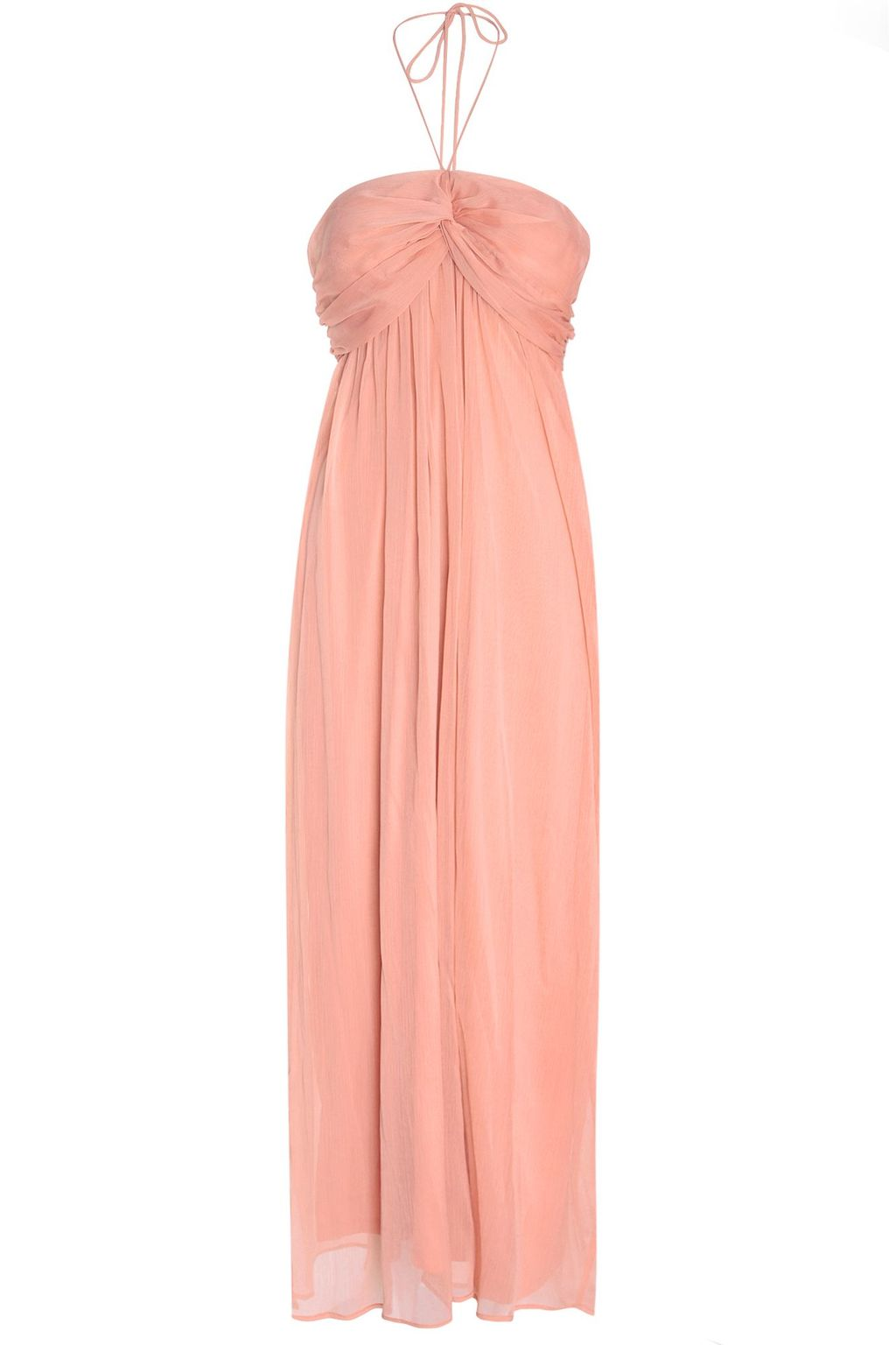 Ruched Halterneck Maxi Dress, Orange - pattern: plain; sleeve style: sleeveless; style: maxi dress; neckline: low halter neck; predominant colour: pink; occasions: casual; length: floor length; fit: body skimming; fibres: polyester/polyamide - 100%; sleeve length: sleeveless; pattern type: fabric; texture group: jersey - stretchy/drapey; season: s/s 2016