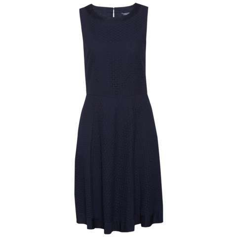 Nita Dress, Navy - length: mid thigh; neckline: round neck; sleeve style: sleeveless; waist detail: fitted waist; predominant colour: navy; occasions: casual; fit: fitted at waist & bust; style: fit & flare; fibres: cotton - 100%; hip detail: soft pleats at hip/draping at hip/flared at hip; sleeve length: sleeveless; texture group: lace; pattern type: fabric; pattern size: standard; pattern: patterned/print; season: s/s 2016