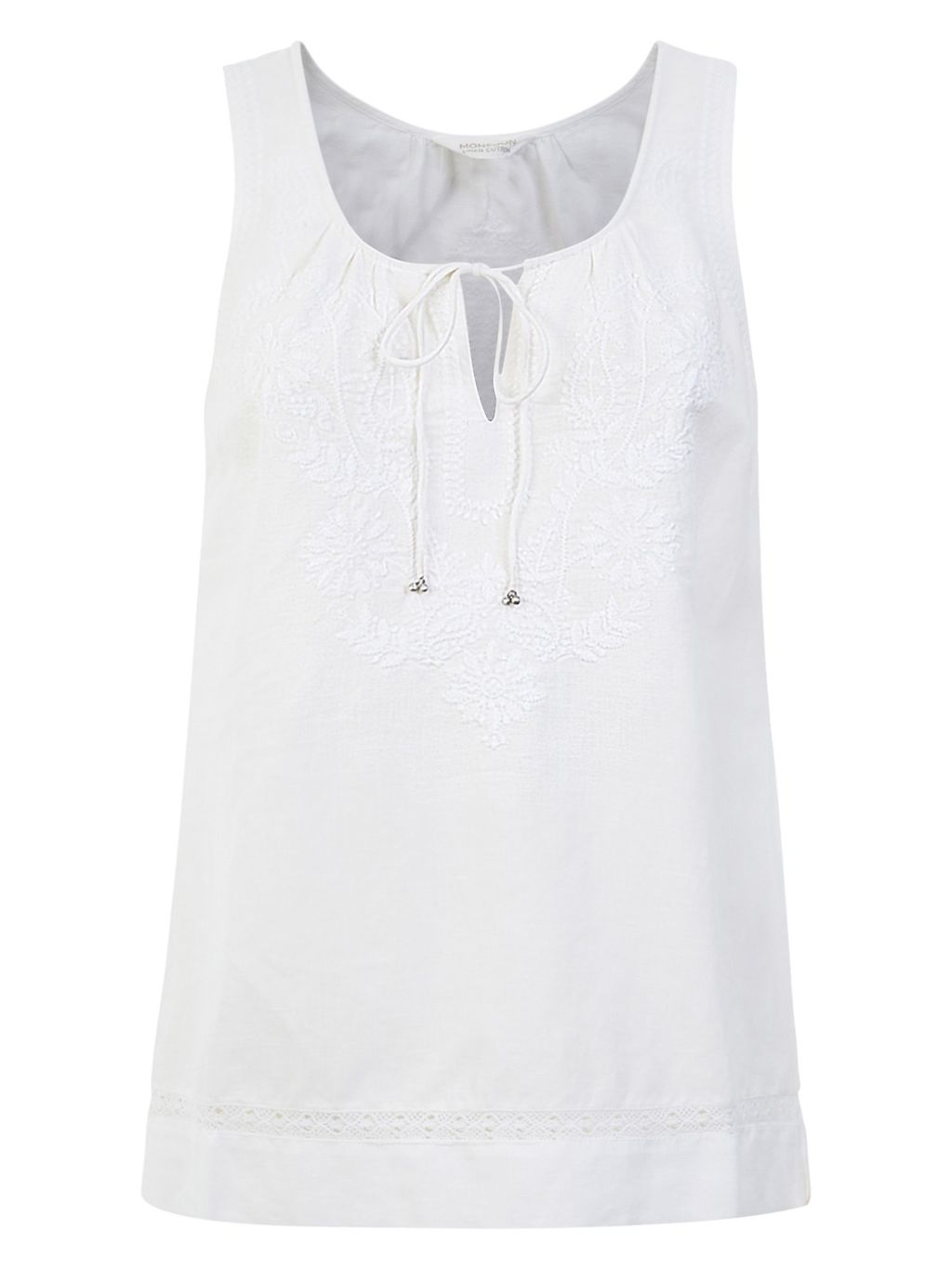 Sydney Sleeveless Embroidered Top, White - pattern: plain; sleeve style: sleeveless; style: vest top; predominant colour: white; occasions: casual; length: standard; neckline: peep hole neckline; fibres: linen - mix; fit: body skimming; sleeve length: sleeveless; pattern type: fabric; texture group: jersey - stretchy/drapey; embellishment: embroidered; season: s/s 2016; wardrobe: highlight