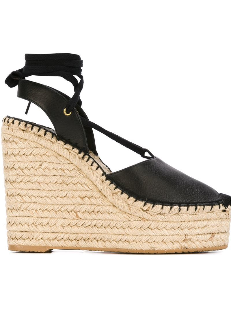 'tracy' Wedge Espadrilles, Women's, Black - secondary colour: ivory/cream; predominant colour: black; material: leather; ankle detail: ankle tie; heel: wedge; toe: round toe; occasions: holiday, creative work; finish: plain; pattern: plain; heel height: very high; shoe detail: platform; style: espadrilles; season: s/s 2016