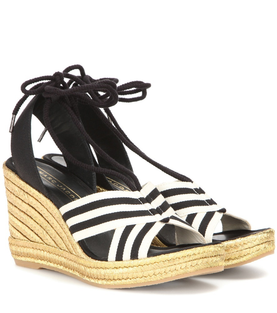 Dani Metallic Wedge Espadrille Sandals - predominant colour: white; secondary colour: black; occasions: casual, holiday; material: fabric; heel height: high; ankle detail: ankle tie; heel: wedge; toe: open toe/peeptoe; style: strappy; trends: monochrome, graphic stripes; finish: plain; pattern: striped; shoe detail: platform; season: s/s 2016; wardrobe: highlight