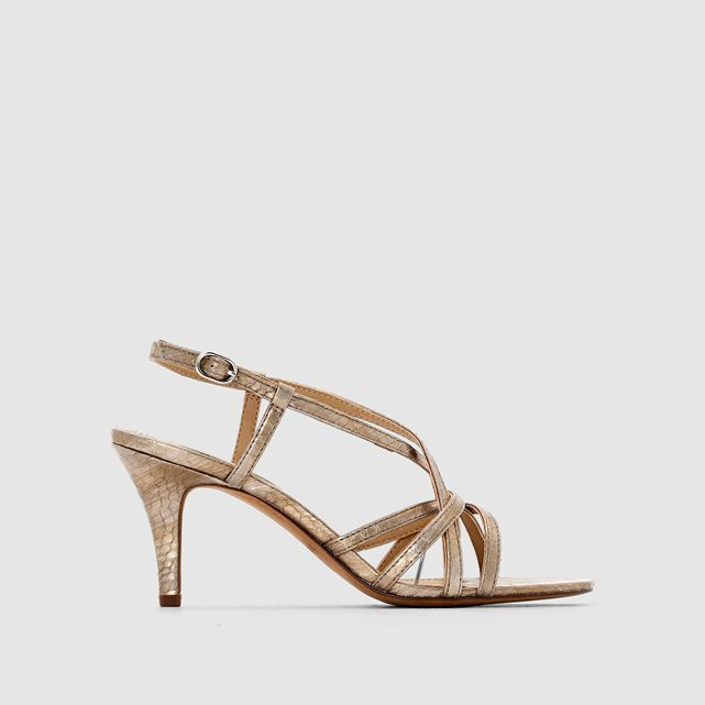 Dor Sandal2 Multi Strap Sandals - predominant colour: gold; occasions: evening, occasion; material: faux leather; heel height: high; heel: standard; toe: open toe/peeptoe; style: strappy; finish: metallic; pattern: plain; season: s/s 2016; wardrobe: event