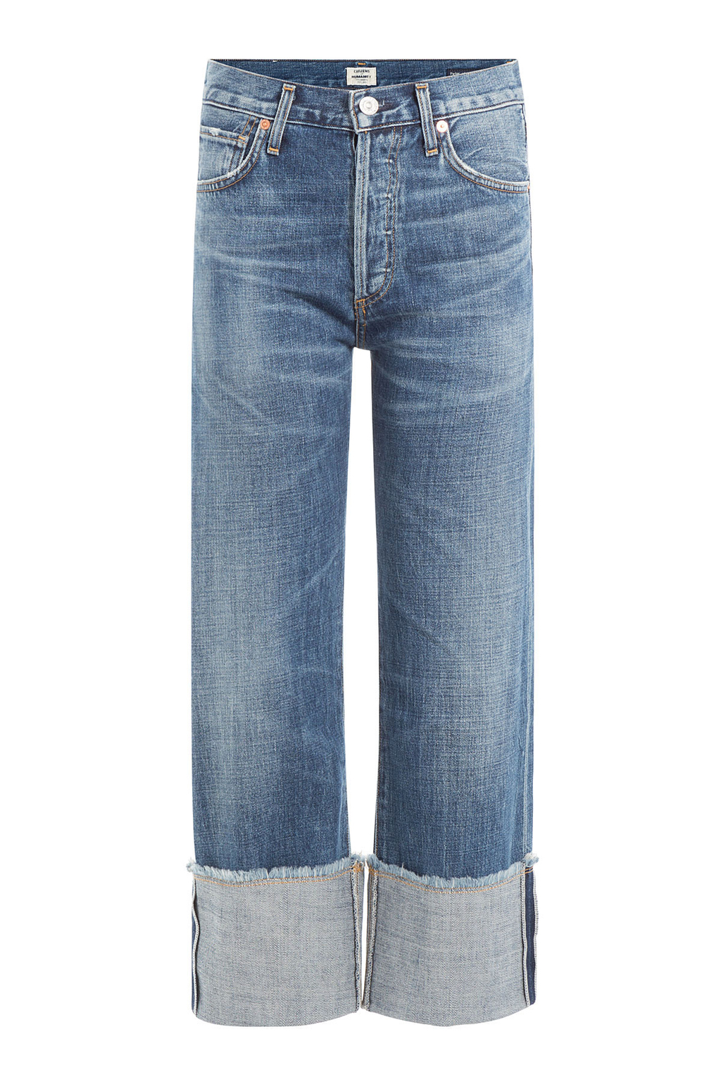 Cuffed Cropped Jeans - style: straight leg; length: standard; pattern: plain; pocket detail: traditional 5 pocket; waist: mid/regular rise; predominant colour: denim; occasions: casual; fibres: cotton - stretch; jeans detail: whiskering, washed/faded; texture group: denim; pattern type: fabric; season: s/s 2016; wardrobe: basic