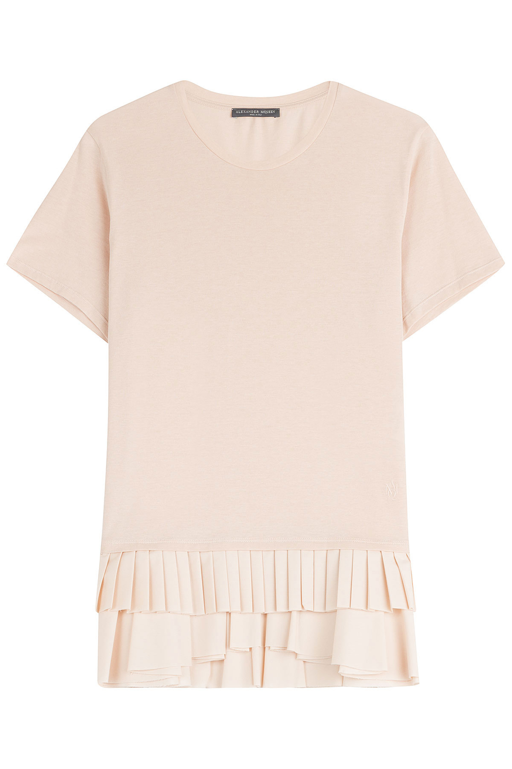 Pleated Ruffle T Shirt - pattern: plain; style: t-shirt; predominant colour: blush; occasions: casual; length: standard; fibres: cotton - 100%; fit: body skimming; neckline: crew; sleeve length: short sleeve; sleeve style: standard; pattern type: fabric; texture group: jersey - stretchy/drapey; season: s/s 2016; wardrobe: basic