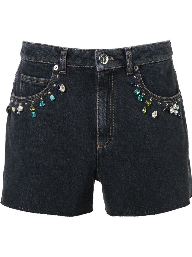 Embellished Denim Shorts, Women's, Grey - pattern: plain; waist: mid/regular rise; predominant colour: denim; occasions: casual, holiday; fibres: cotton - mix; texture group: denim; pattern type: fabric; season: s/s 2016; style: denim; length: short shorts; fit: slim leg; wardrobe: holiday