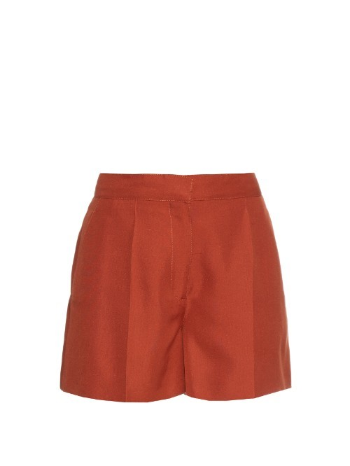 Structured Shantung Silk Shorts - pattern: paisley; waist: high rise; predominant colour: bright orange; occasions: casual, creative work; fibres: silk - 100%; pattern type: fabric; texture group: woven light midweight; season: s/s 2016; style: shorts; length: short shorts; fit: slim leg; wardrobe: highlight