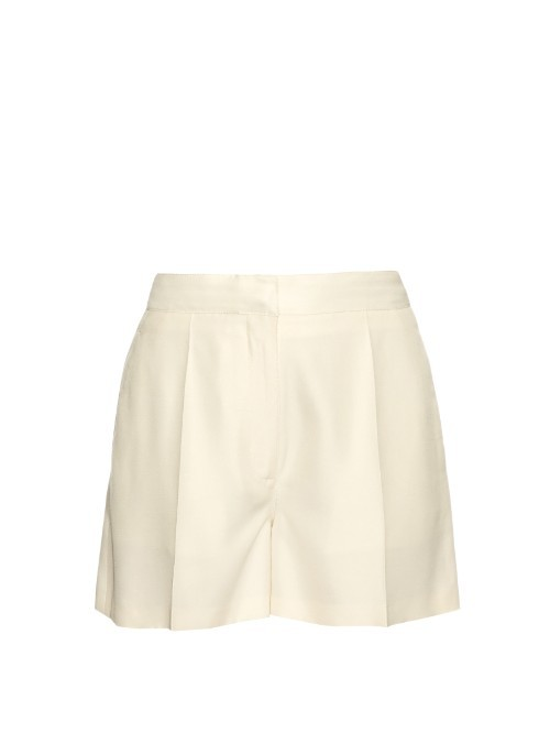 Structured Shantung Silk Shorts - pattern: plain; waist: high rise; predominant colour: ivory/cream; occasions: casual, creative work; fibres: silk - mix; hip detail: subtle/flattering hip detail; texture group: silky - light; pattern type: fabric; season: s/s 2016; wardrobe: basic; style: shorts; length: mid thigh shorts; fit: standard