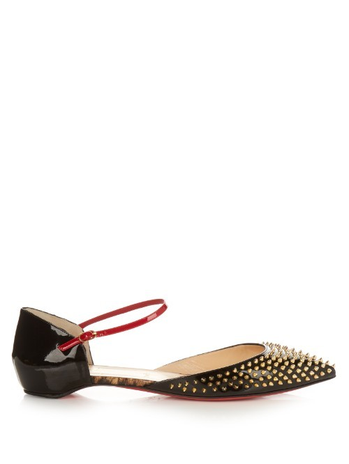 Baiea Spike Patent Leather Flats - predominant colour: black; occasions: casual, creative work; material: leather; heel height: flat; embellishment: studs; ankle detail: ankle strap; toe: pointed toe; style: ballerinas / pumps; finish: plain; pattern: plain; season: s/s 2016