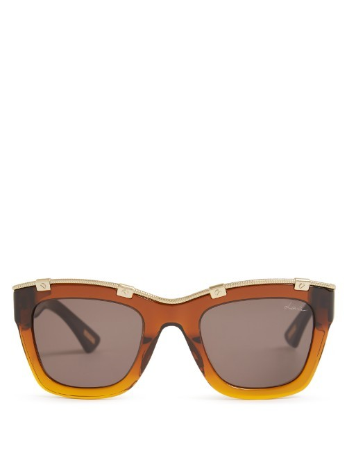 Square Frame Acetate Sunglasses - predominant colour: tan; occasions: casual, holiday; style: d frame; size: large; material: plastic/rubber; pattern: plain; finish: plain; season: s/s 2016; wardrobe: highlight