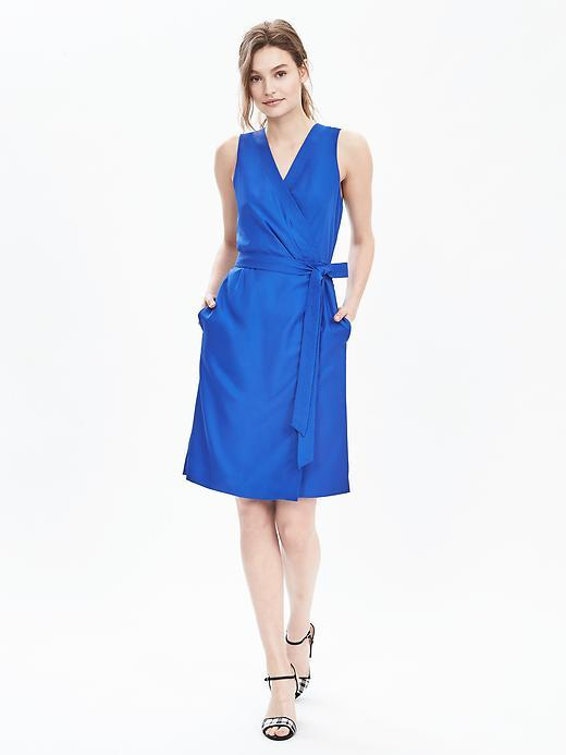 Sleeveless Wrap Dress Riviera Blue - style: faux wrap/wrap; neckline: v-neck; pattern: plain; sleeve style: sleeveless; waist detail: belted waist/tie at waist/drawstring; predominant colour: royal blue; occasions: evening; length: just above the knee; fit: body skimming; fibres: polyester/polyamide - 100%; sleeve length: sleeveless; pattern type: fabric; texture group: woven light midweight; season: s/s 2016; wardrobe: event