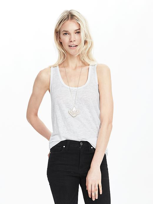 Linen Tank White - neckline: round neck; pattern: plain; sleeve style: sleeveless; style: vest top; predominant colour: white; occasions: casual; length: standard; fibres: linen - 100%; fit: body skimming; sleeve length: sleeveless; pattern type: fabric; texture group: jersey - stretchy/drapey; season: s/s 2016; wardrobe: basic