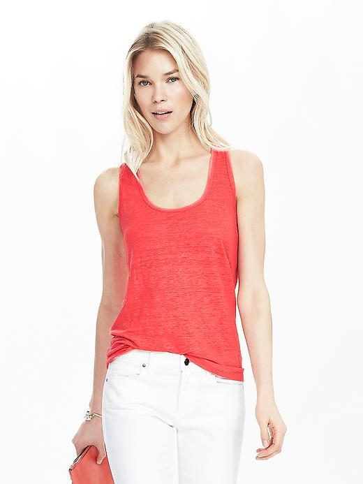 Linen Tank Fire Coral - pattern: plain; sleeve style: sleeveless; style: t-shirt; predominant colour: coral; occasions: casual, creative work; length: standard; neckline: scoop; fibres: linen - 100%; fit: body skimming; sleeve length: sleeveless; texture group: cotton feel fabrics; pattern type: fabric; season: s/s 2016; wardrobe: highlight