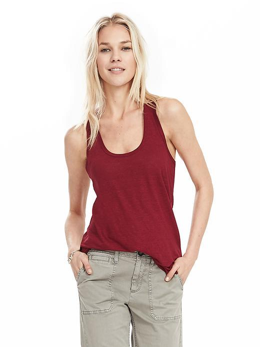 Linen Tank Chili Pepper Red - sleeve style: standard vest straps/shoulder straps; pattern: plain; length: below the bottom; style: vest top; predominant colour: true red; occasions: casual; neckline: scoop; fibres: linen - 100%; fit: body skimming; sleeve length: sleeveless; pattern type: fabric; texture group: jersey - stretchy/drapey; season: s/s 2016; wardrobe: highlight