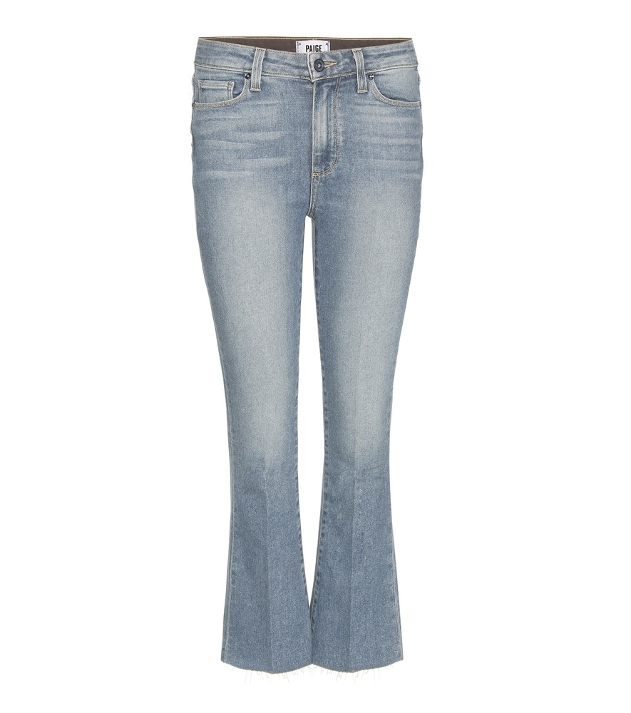 Colette Cropped Slim Flared Jeans - style: flares; length: standard; pattern: plain; pocket detail: traditional 5 pocket; waist: mid/regular rise; predominant colour: denim; occasions: casual; fibres: cotton - stretch; jeans detail: whiskering, shading down centre of thigh; texture group: denim; pattern type: fabric; season: s/s 2016; wardrobe: basic