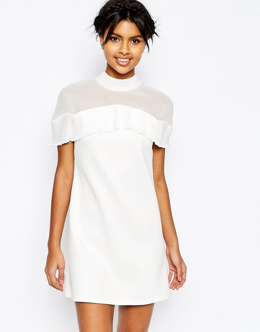 Pleat Chiffon Ruffle Top Shift Mini Dress White - style: shift; length: mini; sleeve style: capped; fit: tailored/fitted; pattern: plain; neckline: high neck; bust detail: sheer at bust; predominant colour: white; occasions: evening; fibres: polyester/polyamide - stretch; sleeve length: sleeveless; texture group: sheer fabrics/chiffon/organza etc.; pattern type: fabric; season: s/s 2016; wardrobe: event
