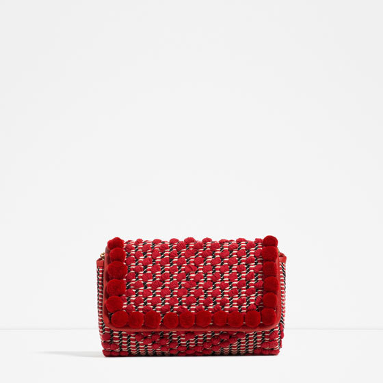 Pompom Cross Body Bag - predominant colour: true red; occasions: casual, creative work; type of pattern: light; style: clutch; length: shoulder (tucks under arm); size: small; material: fabric; finish: plain; pattern: patterned/print; embellishment: pompom; season: s/s 2016; wardrobe: highlight
