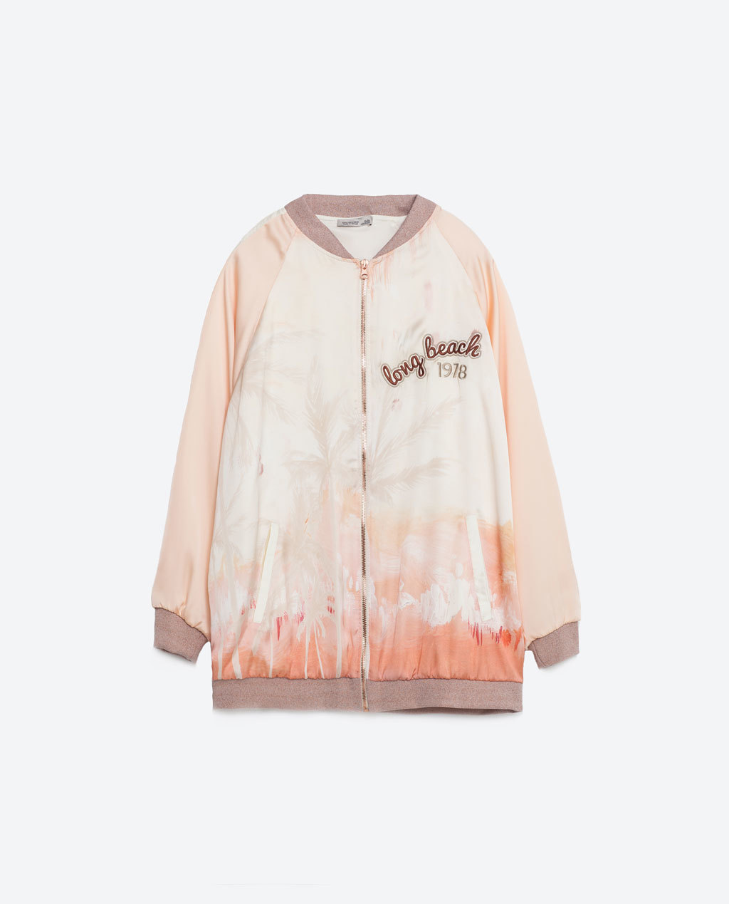 Patch Print Bomber Jacket - collar: round collar/collarless; pattern: tie dye; style: bomber; predominant colour: nude; secondary colour: taupe; occasions: casual; length: standard; fit: straight cut (boxy); fibres: polyester/polyamide - 100%; sleeve length: long sleeve; sleeve style: standard; collar break: high; pattern type: fabric; pattern size: standard; texture group: other - light to midweight; season: s/s 2016; wardrobe: highlight