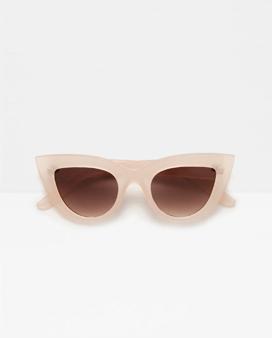 Plastic Frame Glasses - predominant colour: blush; occasions: casual; style: cateye; size: large; material: plastic/rubber; pattern: plain; finish: plain; season: s/s 2016; wardrobe: basic