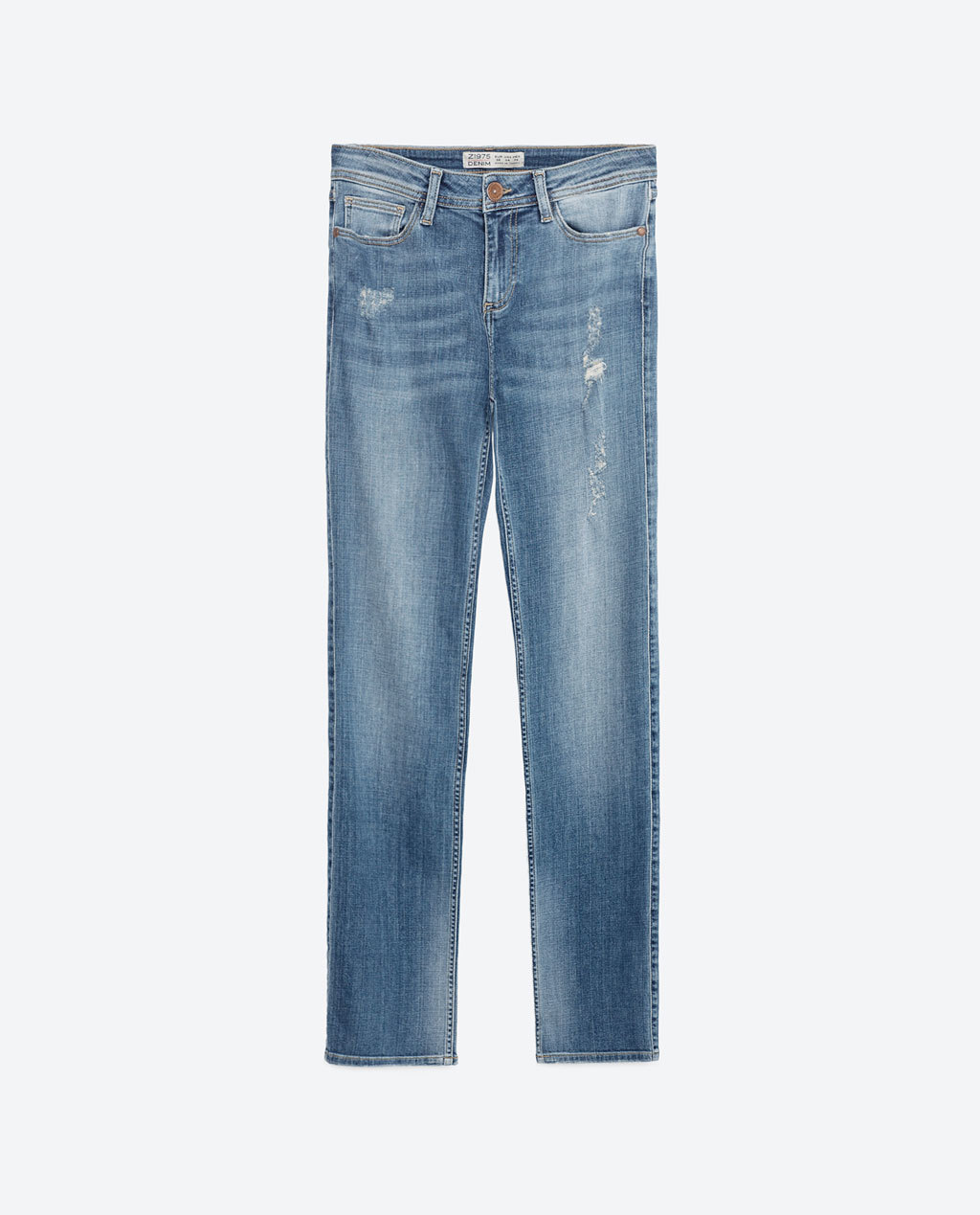 Straight Leg Mid Rise Jeans - style: straight leg; length: standard; pattern: plain; pocket detail: traditional 5 pocket; waist: mid/regular rise; predominant colour: denim; occasions: casual; fibres: cotton - stretch; texture group: denim; pattern type: fabric; season: s/s 2016; wardrobe: basic