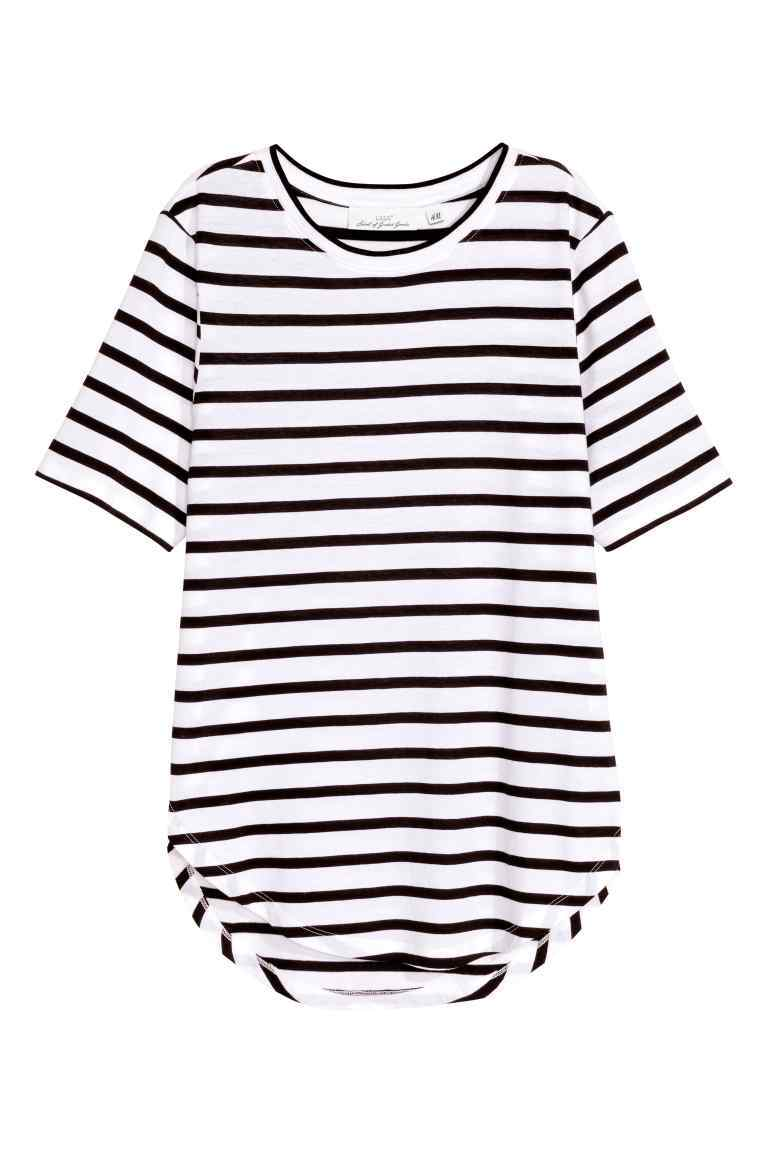 Jersey Top - neckline: round neck; pattern: horizontal stripes; secondary colour: white; predominant colour: black; occasions: casual; length: standard; style: top; fibres: cotton - mix; fit: body skimming; sleeve length: short sleeve; sleeve style: standard; pattern type: fabric; texture group: jersey - stretchy/drapey; multicoloured: multicoloured; season: s/s 2016; wardrobe: basic