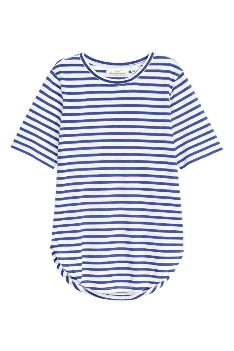 Jersey Top - neckline: round neck; pattern: horizontal stripes; style: t-shirt; secondary colour: white; predominant colour: navy; occasions: casual; length: standard; fibres: cotton - mix; fit: body skimming; sleeve length: short sleeve; sleeve style: standard; pattern type: fabric; texture group: jersey - stretchy/drapey; multicoloured: multicoloured; season: s/s 2016