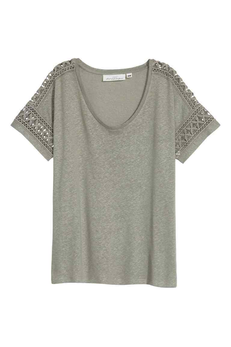 Top In A Linen Blend With Lace - neckline: v-neck; pattern: plain; predominant colour: light grey; occasions: casual; length: standard; style: top; fibres: linen - mix; fit: body skimming; sleeve length: short sleeve; sleeve style: standard; pattern type: fabric; texture group: jersey - stretchy/drapey; embellishment: lace; season: s/s 2016; wardrobe: highlight