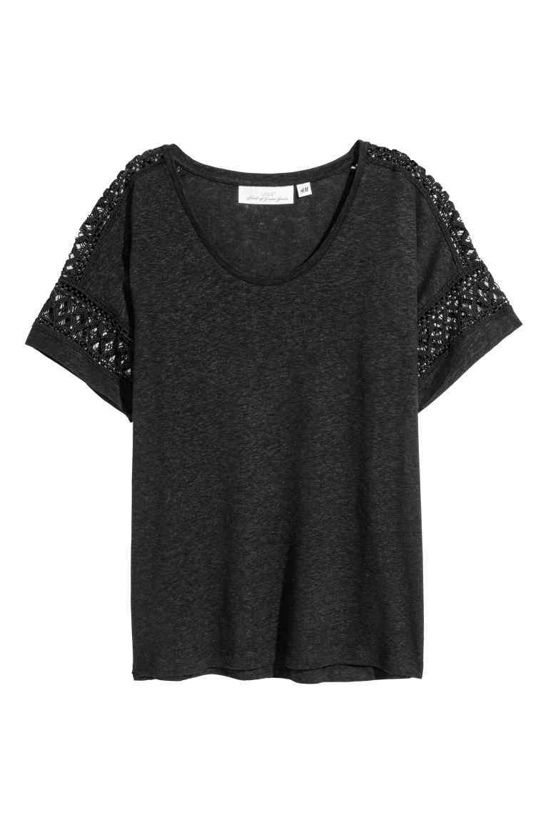 Top In A Linen Blend With Lace - neckline: round neck; pattern: plain; predominant colour: black; occasions: casual; length: standard; style: top; fibres: linen - mix; fit: body skimming; sleeve length: short sleeve; sleeve style: standard; pattern type: fabric; texture group: jersey - stretchy/drapey; embellishment: lace; season: s/s 2016; wardrobe: highlight