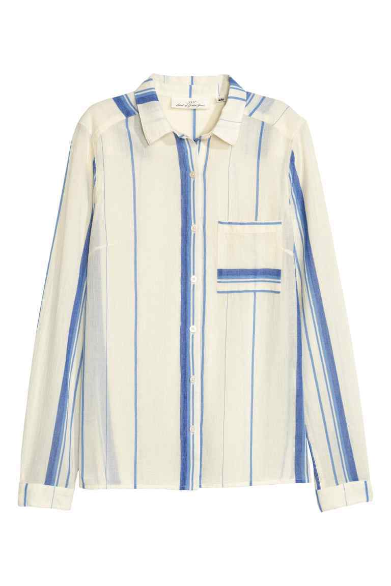 Cotton Shirt - neckline: shirt collar/peter pan/zip with opening; pattern: vertical stripes; style: shirt; bust detail: pocket detail at bust; predominant colour: ivory/cream; secondary colour: denim; occasions: casual; length: standard; fibres: cotton - 100%; fit: body skimming; sleeve length: long sleeve; sleeve style: standard; pattern type: fabric; texture group: woven light midweight; multicoloured: multicoloured; season: s/s 2016