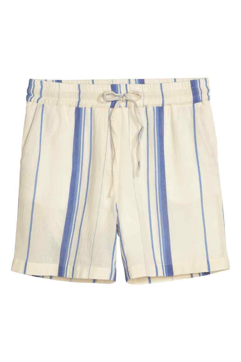Cotton Shorts - pattern: vertical stripes; waist: mid/regular rise; predominant colour: ivory/cream; secondary colour: diva blue; fibres: cotton - 100%; occasions: holiday; pattern type: fabric; texture group: woven light midweight; pattern size: standard (bottom); season: s/s 2016; style: shorts; length: short shorts; fit: slim leg; wardrobe: holiday