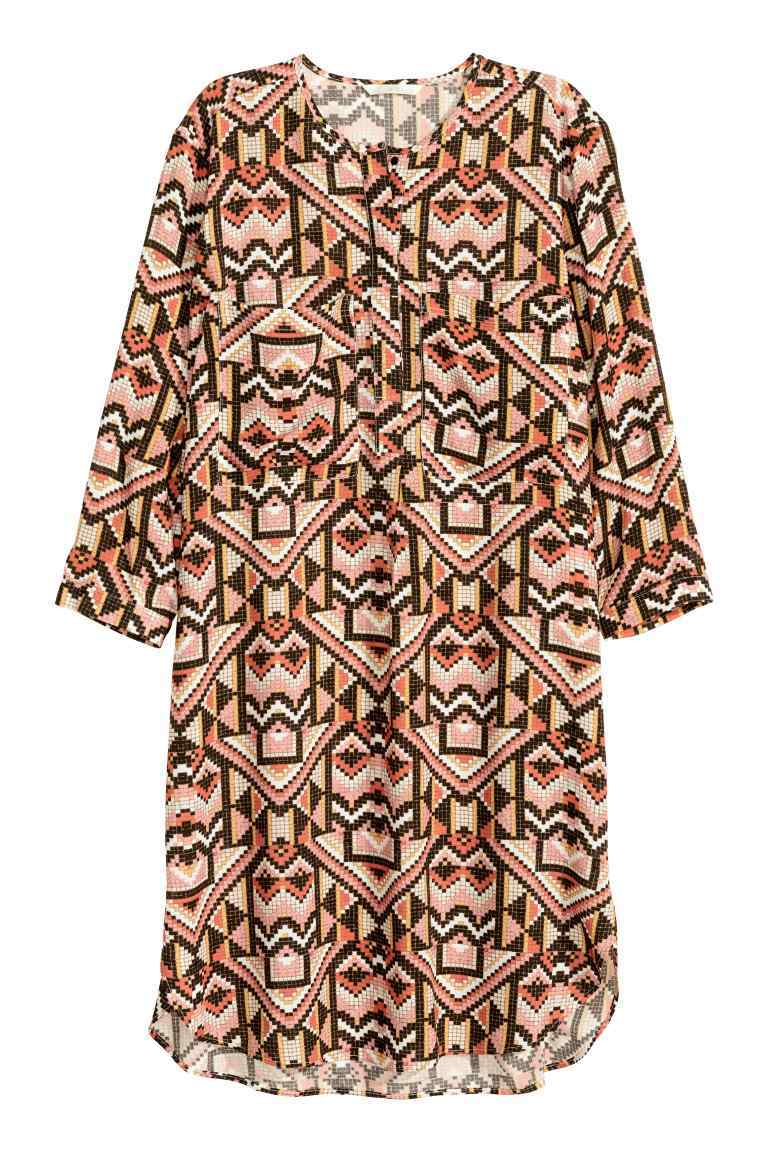 Viscose Dress - style: tunic; length: mid thigh; neckline: round neck; secondary colour: chocolate brown; predominant colour: nude; occasions: casual; fit: straight cut; fibres: viscose/rayon - 100%; sleeve length: 3/4 length; sleeve style: standard; pattern type: fabric; pattern size: big & busy; pattern: patterned/print; texture group: woven light midweight; multicoloured: multicoloured; season: s/s 2016; wardrobe: highlight