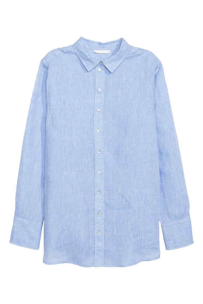 Linen Shirt - neckline: shirt collar/peter pan/zip with opening; pattern: plain; style: shirt; predominant colour: pale blue; occasions: casual; length: standard; fibres: linen - 100%; fit: body skimming; sleeve length: long sleeve; sleeve style: standard; pattern type: fabric; texture group: woven light midweight; season: s/s 2016; wardrobe: highlight