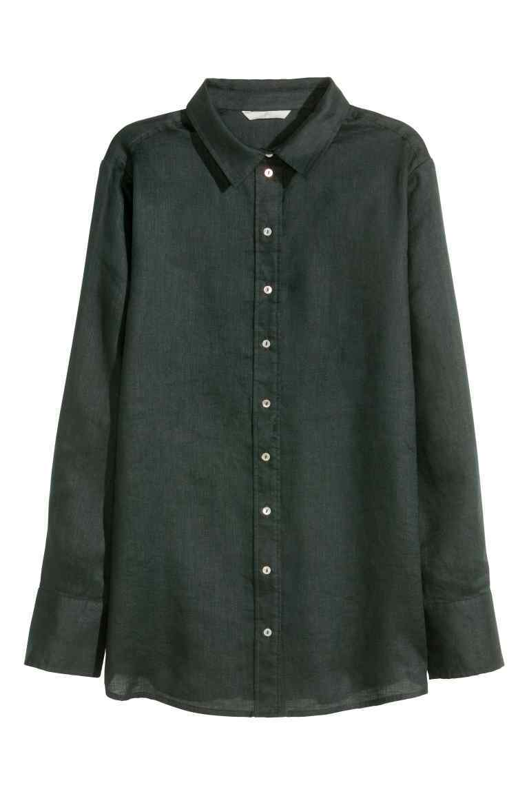 Linen Shirt - neckline: shirt collar/peter pan/zip with opening; pattern: plain; style: shirt; predominant colour: black; occasions: casual; length: standard; fibres: linen - 100%; fit: body skimming; sleeve length: long sleeve; sleeve style: standard; texture group: linen; pattern type: fabric; season: s/s 2016; wardrobe: basic