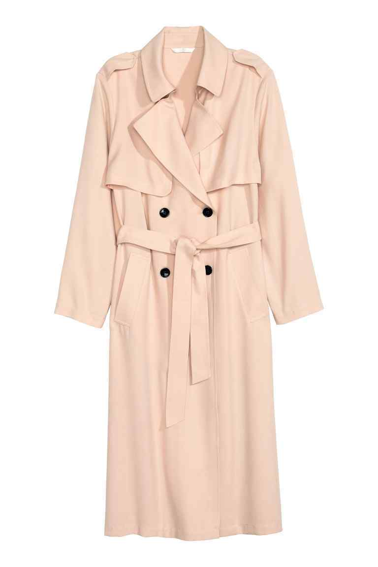 Trenchcoat - pattern: plain; shoulder detail: obvious epaulette; style: trench coat; collar: standard lapel/rever collar; predominant colour: nude; occasions: casual, creative work; fit: tailored/fitted; fibres: cotton - mix; length: below the knee; waist detail: belted waist/tie at waist/drawstring; sleeve length: long sleeve; sleeve style: standard; texture group: cotton feel fabrics; collar break: medium; pattern type: fabric; season: s/s 2016