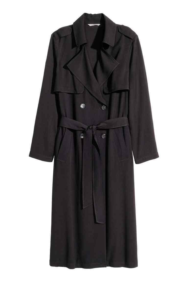 Trenchcoat - pattern: plain; shoulder detail: obvious epaulette; style: trench coat; length: on the knee; collar: standard lapel/rever collar; predominant colour: black; occasions: casual, creative work; fit: tailored/fitted; fibres: polyester/polyamide - 100%; waist detail: belted waist/tie at waist/drawstring; sleeve length: long sleeve; sleeve style: standard; texture group: crepes; collar break: medium; pattern type: fabric; season: s/s 2016; wardrobe: basic