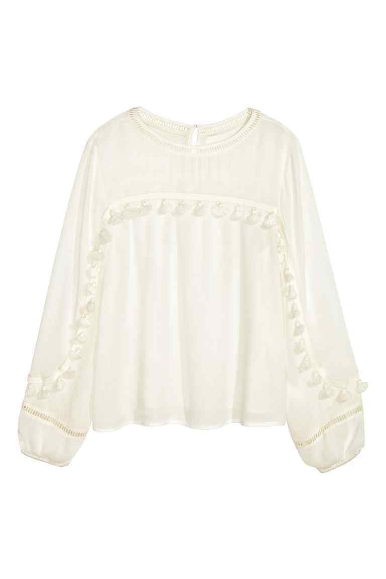 Fringed Blouse - pattern: plain; style: blouse; predominant colour: ivory/cream; occasions: casual; length: standard; fibres: viscose/rayon - 100%; fit: body skimming; neckline: crew; sleeve length: long sleeve; sleeve style: standard; texture group: cotton feel fabrics; pattern type: fabric; embellishment: fringing; season: s/s 2016; wardrobe: highlight