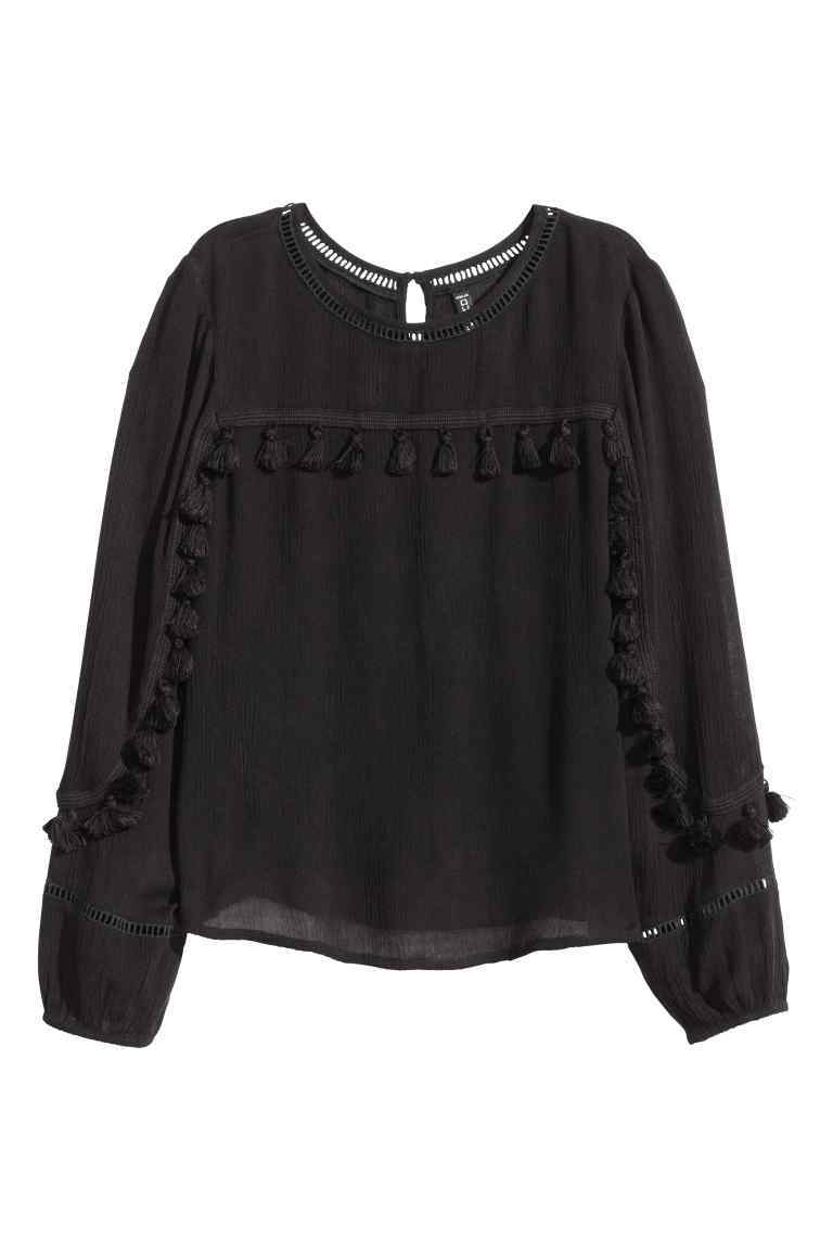 Fringed Blouse - neckline: round neck; pattern: plain; sleeve style: balloon; style: blouse; predominant colour: black; occasions: casual, creative work; length: standard; fibres: polyester/polyamide - 100%; fit: straight cut; back detail: keyhole/peephole detail at back; sleeve length: long sleeve; texture group: sheer fabrics/chiffon/organza etc.; pattern type: fabric; embellishment: fringing; season: s/s 2016; wardrobe: highlight; embellishment location: bust