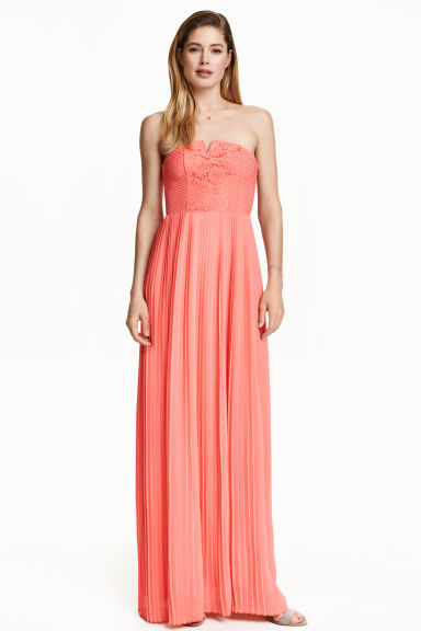 Pleated Maxi Dress - neckline: strapless (straight/sweetheart); pattern: plain; style: maxi dress; sleeve style: strapless; predominant colour: pink; occasions: evening; length: floor length; fit: body skimming; fibres: polyester/polyamide - 100%; sleeve length: sleeveless; texture group: sheer fabrics/chiffon/organza etc.; pattern type: fabric; season: s/s 2016