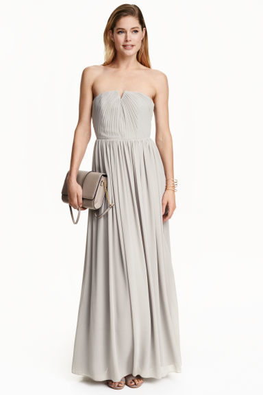 Pleated Maxi Dress - neckline: strapless (straight/sweetheart); pattern: plain; style: maxi dress; sleeve style: strapless; predominant colour: light grey; occasions: evening; length: floor length; fit: body skimming; fibres: polyester/polyamide - 100%; sleeve length: sleeveless; pattern type: fabric; texture group: jersey - stretchy/drapey; season: s/s 2016