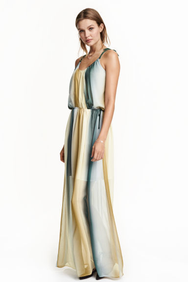 Chiffon Maxi Dress - sleeve style: spaghetti straps; fit: fitted at waist; style: maxi dress; length: ankle length; waist detail: belted waist/tie at waist/drawstring; predominant colour: ivory/cream; secondary colour: navy; occasions: evening; neckline: scoop; fibres: polyester/polyamide - 100%; sleeve length: sleeveless; texture group: sheer fabrics/chiffon/organza etc.; pattern type: fabric; pattern size: standard; pattern: patterned/print; multicoloured: multicoloured; season: s/s 2016; wardrobe: event