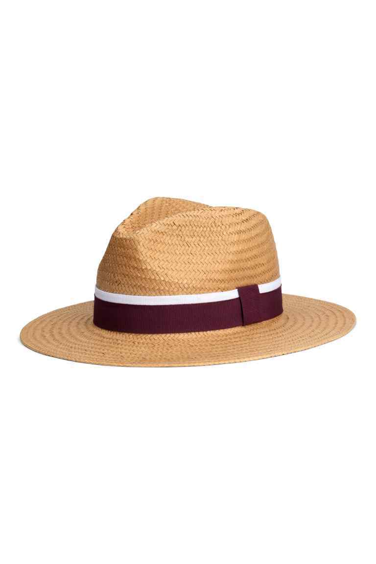Straw Hat - secondary colour: white; predominant colour: camel; occasions: casual, holiday; type of pattern: standard; embellishment: ribbon; style: panama; size: standard; material: macrame/raffia/straw; pattern: plain; season: s/s 2016; wardrobe: holiday