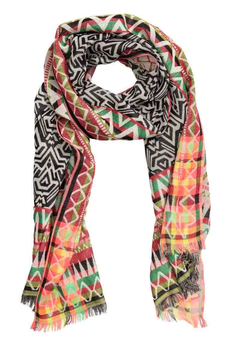 Jacquard Weave Scarf - predominant colour: coral; secondary colour: black; occasions: casual, creative work; type of pattern: large; style: regular; size: standard; material: fabric; pattern: patterned/print; season: s/s 2016
