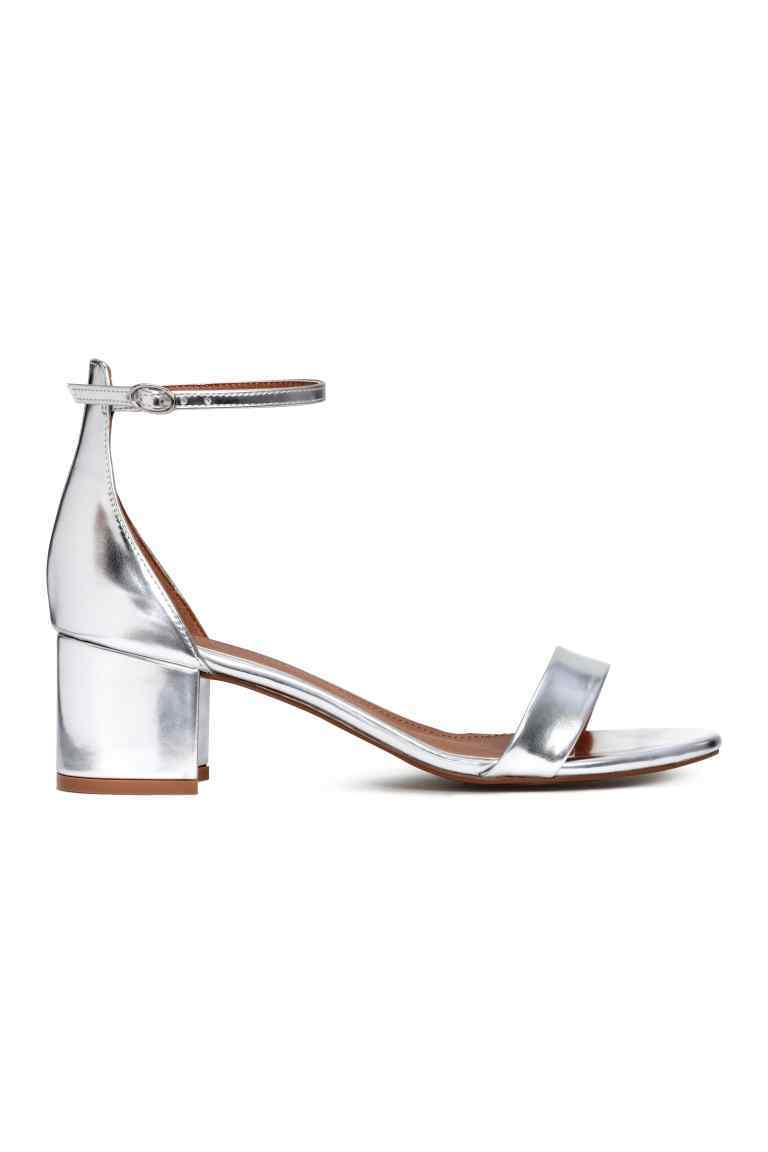 Sandals - predominant colour: silver; occasions: evening; material: leather; heel height: mid; heel: block; toe: open toe/peeptoe; style: strappy; finish: metallic; pattern: plain; season: s/s 2016; wardrobe: event